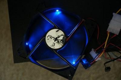 Antec 3 120mm computer fans with blue LEDs and 3 way switch
