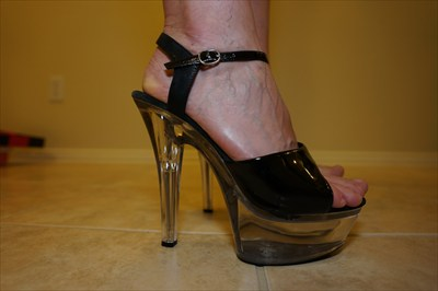 Black Clear High Heel Stiletto Platform Stripper Sandals Sexy Ellie