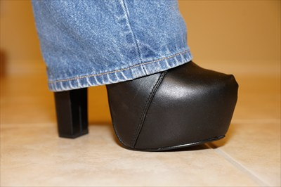 Black High Heel Platform Booties oxfords Sexy