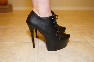 Black High Heel Stiletto Hidden Platform Oxford Booties Sexy