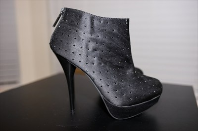 Black Satin High heel stiletto platform booties Sexy Shiekh