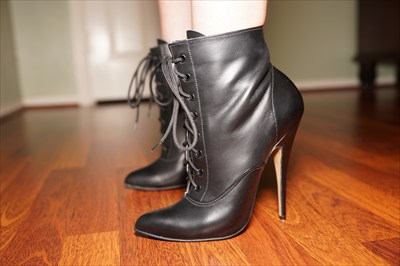Fetish Black High Heel Stiletto Granny Boots Lace Up