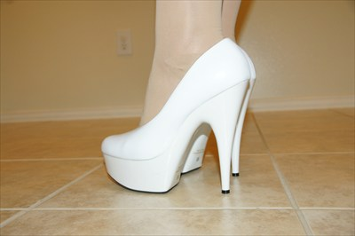 Jante Sexy White Patent Platform Pumps Stripper B1848