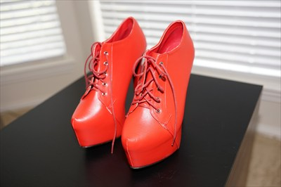 Red High Heel Stiletto oxford booties hidden platform sz 10 sexy