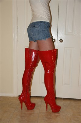 Red thigh high heel stiletto platform stripper boots