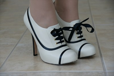 Sexy Bebe white leather High Heel Stiletto Lace up Booties KRISTIN