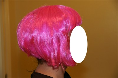 Sexy Chin Length Pink Wig with Bangs