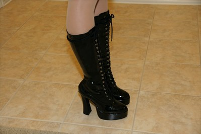 Sexy Ellie Black Patent Knee High lace up platform stripper boots