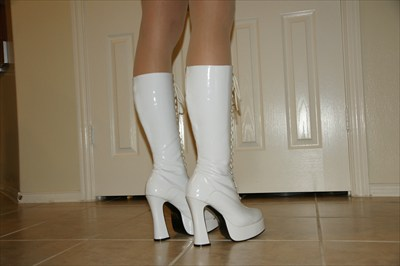 Sexy High Heel White Patent Platform Boots Easy