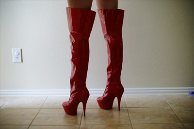 Sexy Thigh High Red stripper high heel platform boots