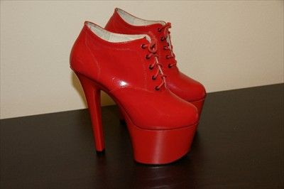 Sexy red high heel stiletto oxford lace up pumps booties
