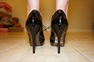 Steve Madden Black Patent High Heel Oxfords Hidden Platforms sexy