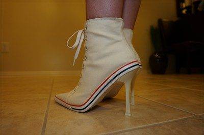 White High Heel Sneaker Heels lace up Sexy